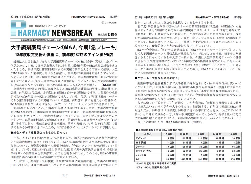 薬局・薬剤師のためのニュースメディアPHARMACY NEWSBREAK 722号